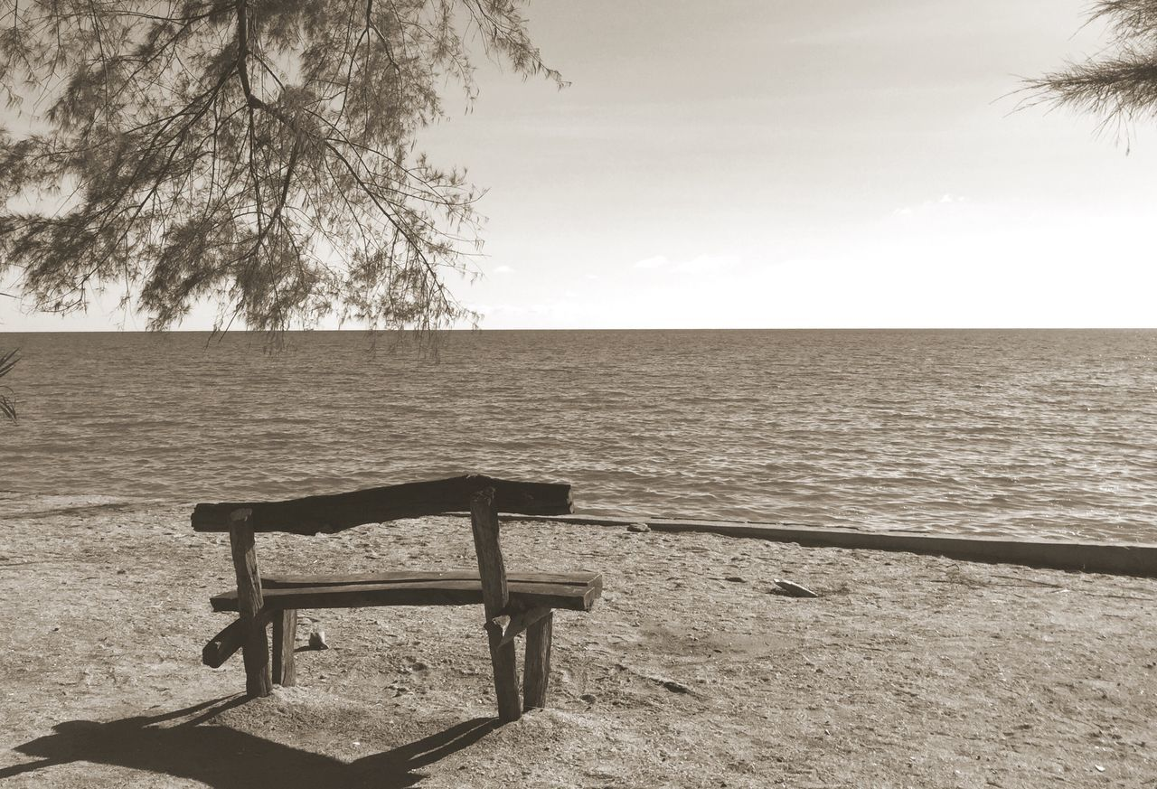 Bench Seascape Monochrome Tranquility Chair No People Outdoors Taking Photos From My Point Of View Thailand Sepia Sepia_collection Monotone