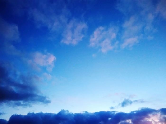 Sky Cloud - Sky Blue Nature Tranquility Heaven Outdoors Idyllic Beauty In Nature No People Tranquil Scene Scenics Sunset Night Treetop Space