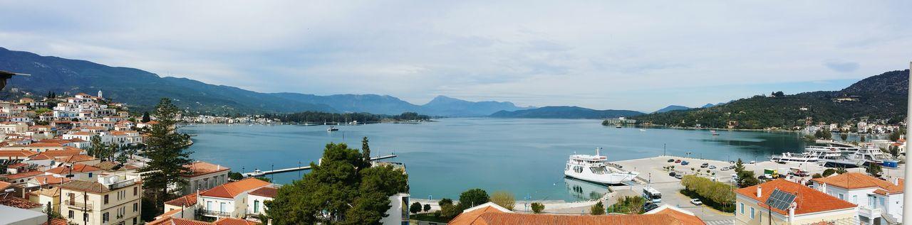Poros Poros Island Panoramic Panoramic View Breakfast Greece Port