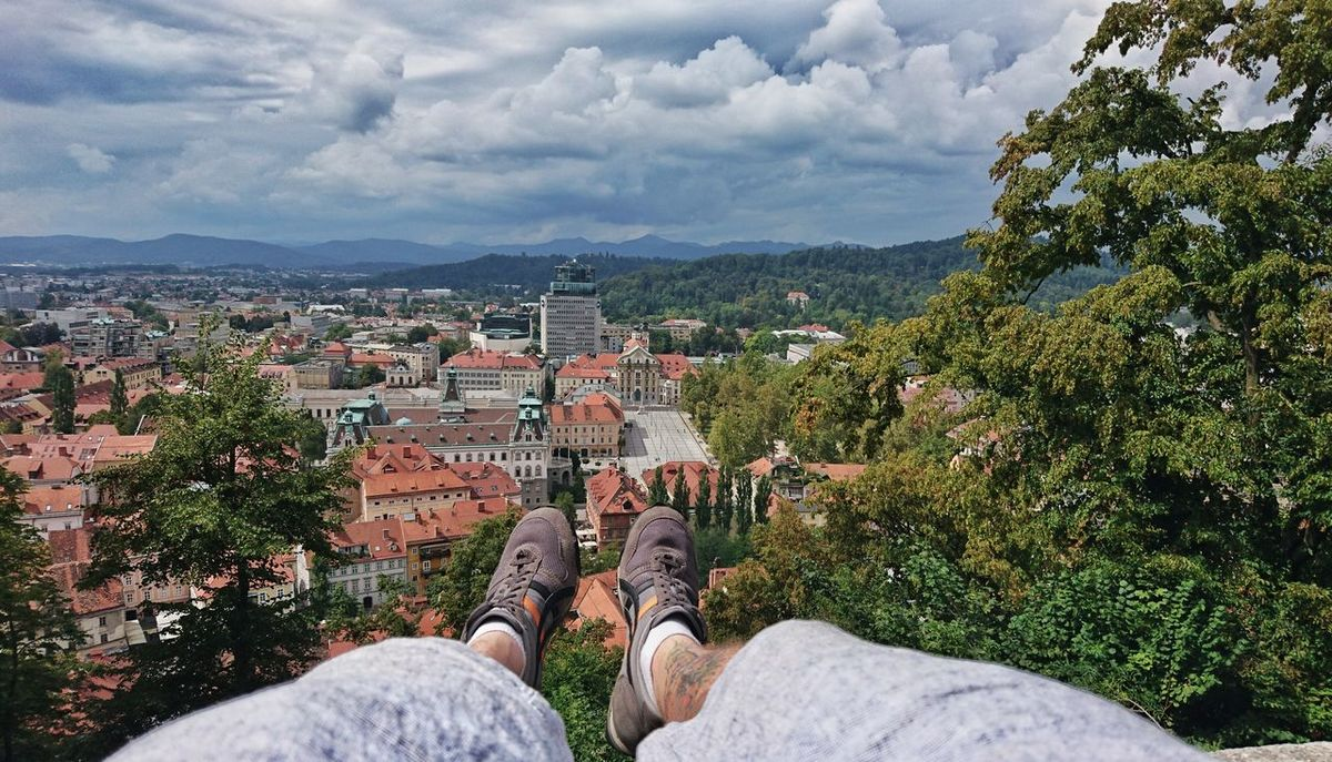 Atop the Ljubljana castle in Slovenia Two Is Better Than One Heigh View From Above Castle Rooftop Landscape Landscape_lovers That's Me XperiaZ5 Sony Travel Enjoying Life Snapseed Shoes Legs OnitsukaTiger Edit Horizon Amazing View Cityscape Mountains City