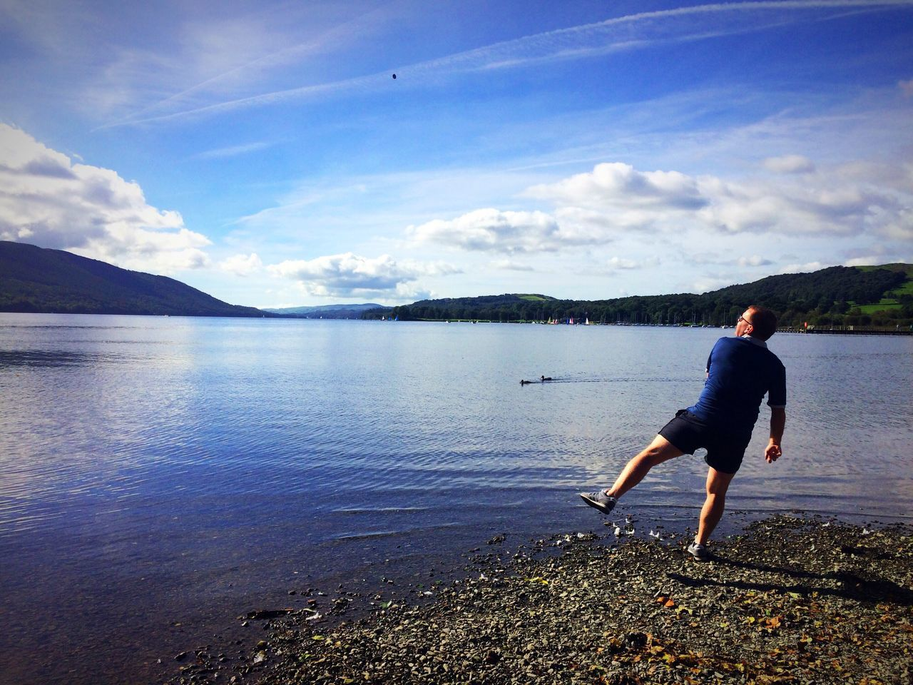Coniston Water Coniston Waters Lake District Reflection Water Reflections Cloud - Sky Man Throwing Stones In The Water Throwing Stones Water Coniston Beautiful Beauty In Nature