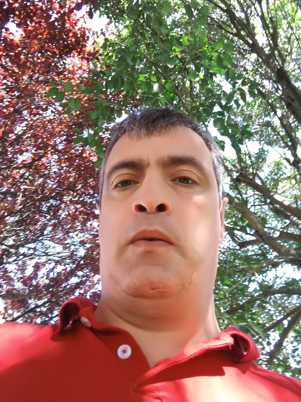 Low Angle Portrait Of Man Against Tree