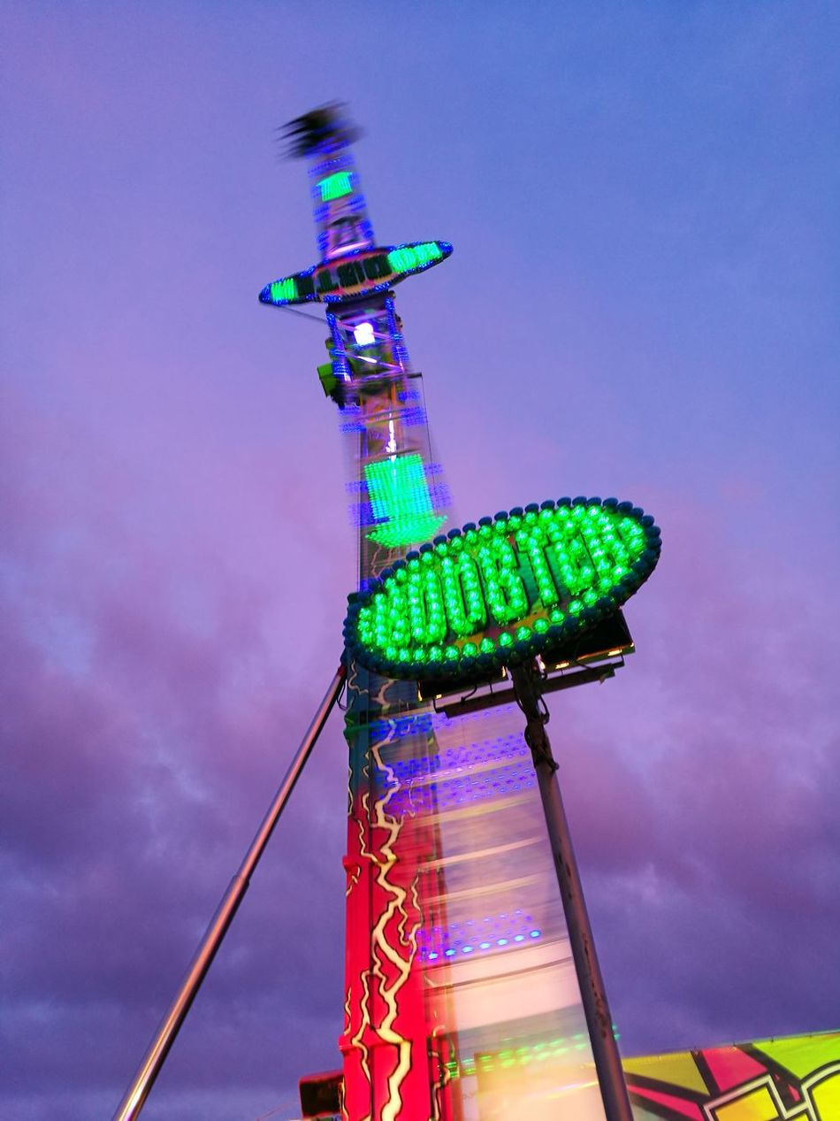 Fair Rides At Fair Illuminated Outdoors Event Brielle Lights Movement Sky Special Effects