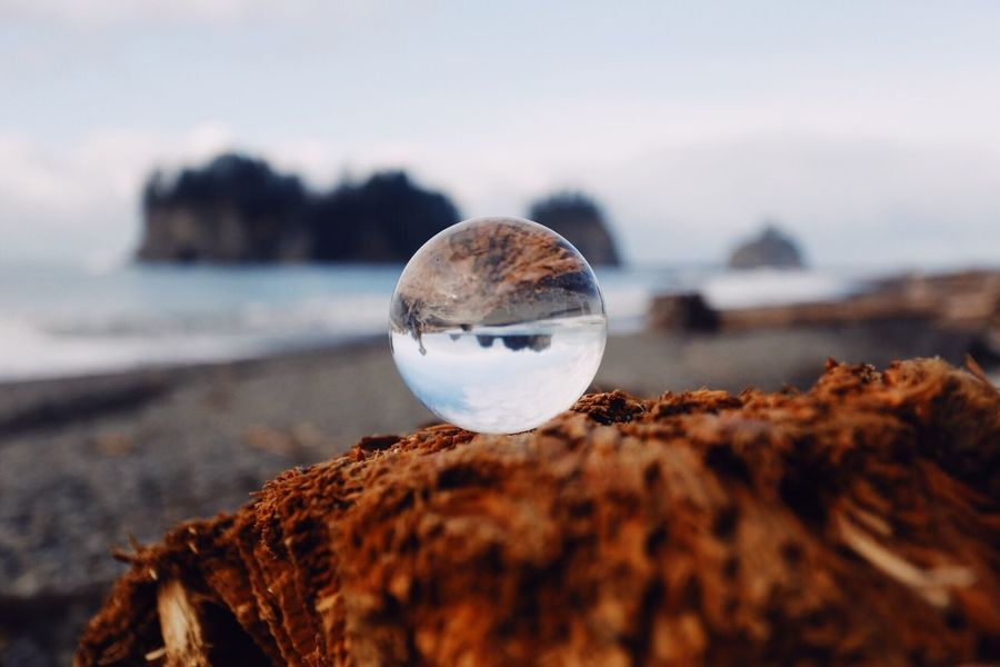 Beach Sea Water Reflection Sand Shore Seashell Nature No People Coastline Outdoors Pebble Tranquility Close-up Crystal Ball Day Sky Seattle Tadaa Community