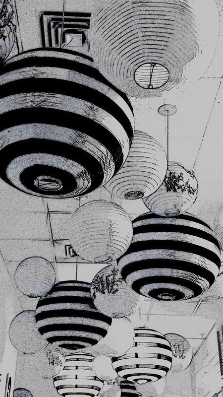 Black & White Black And White Ball Blackandwhite Photography Cinese Lattern Circular Grouping Hanging Round Bales Round Shape