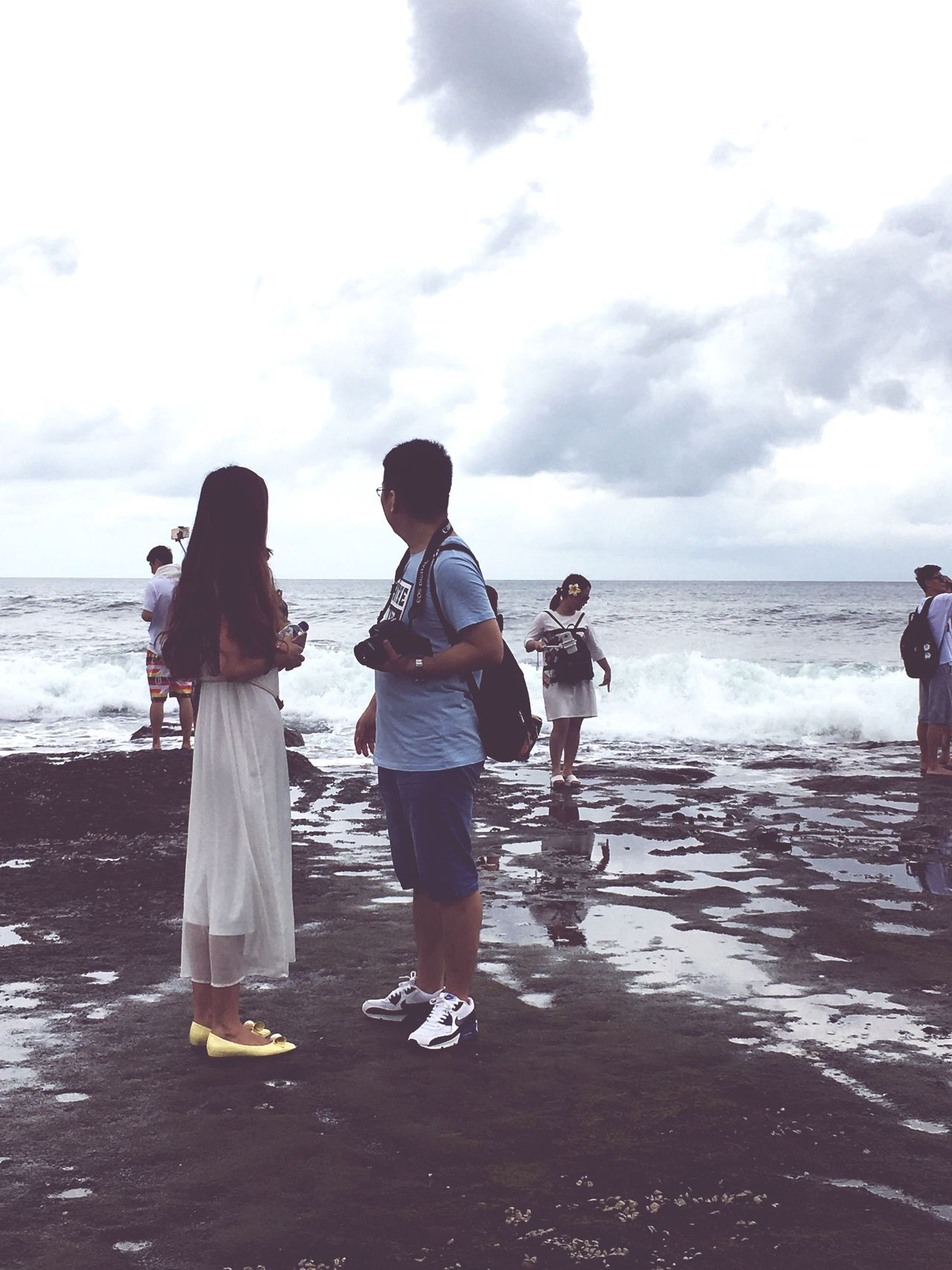 Looking at the distant Togetherness Beach Water Rear View Leisure Activity Sky Sea Lifestyles Full Length Horizon Over Water Cloud - Sky Casual Clothing Shore Person Day Nature Vacations Outdoors Tranquility Beauty In Nature Tanah Lot Bali, Indonesia Tanah Lot