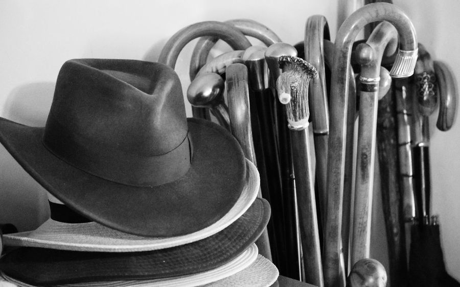 Some of my Dad's hats and canes. No People Close-up Indoors  Hat Hats Canes Cane Walking Cane Walking Canes Blackandwhite Black & White Still Life