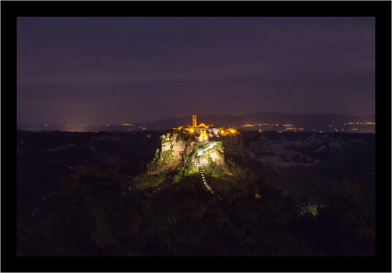 Civita Di Bagnoregio Landscape Nocturne Italy Illuminated Architecture Night Travel Destinations Nature