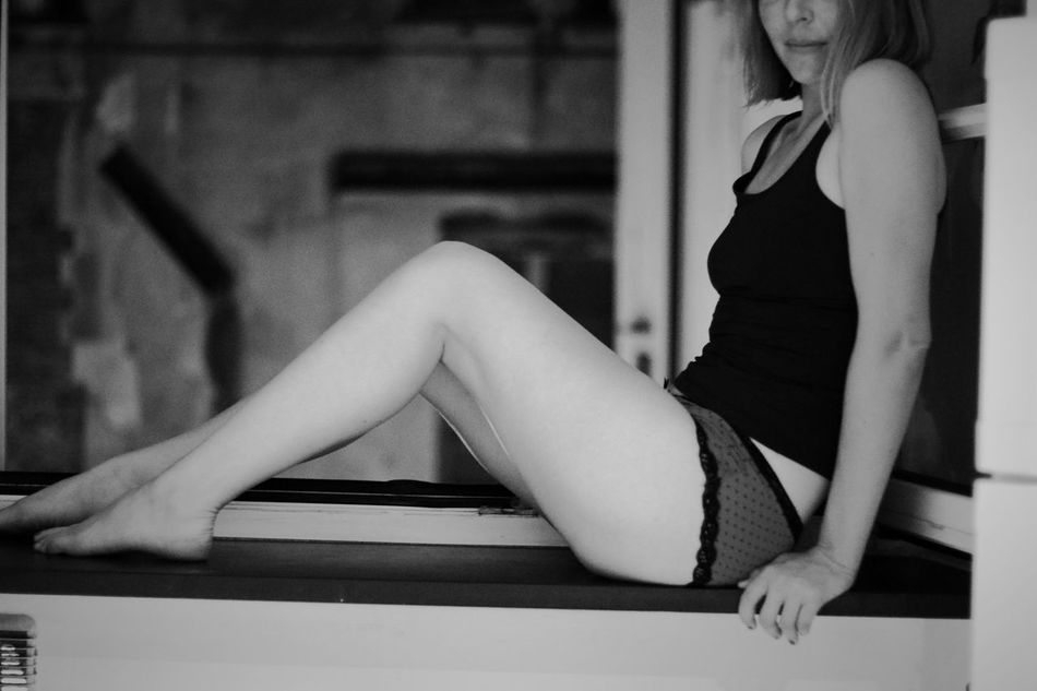Adult Woman B&w Casual Clothing Fashionable In The Window Legs Legs Crossed At Knee Leisure Activity Lifestyles Lingerie Mood Captures Moody Person Sitting Sitting Alone Sitting Pretty Underwear😈 Waiting Young Adult