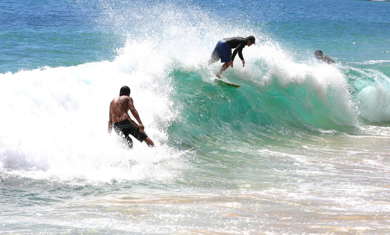 motion, wave, sea, surf, splashing, power in nature, water, beauty in nature, nature, real people, force, fun, day, waterfront, surfing, speed, outdoors, hitting, men, lifestyles, leisure activity, horizon over water, crash, extreme sports, scenics, jet boat, one person, sky