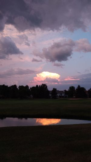 View across the golf course. Reflection Sky Sunset