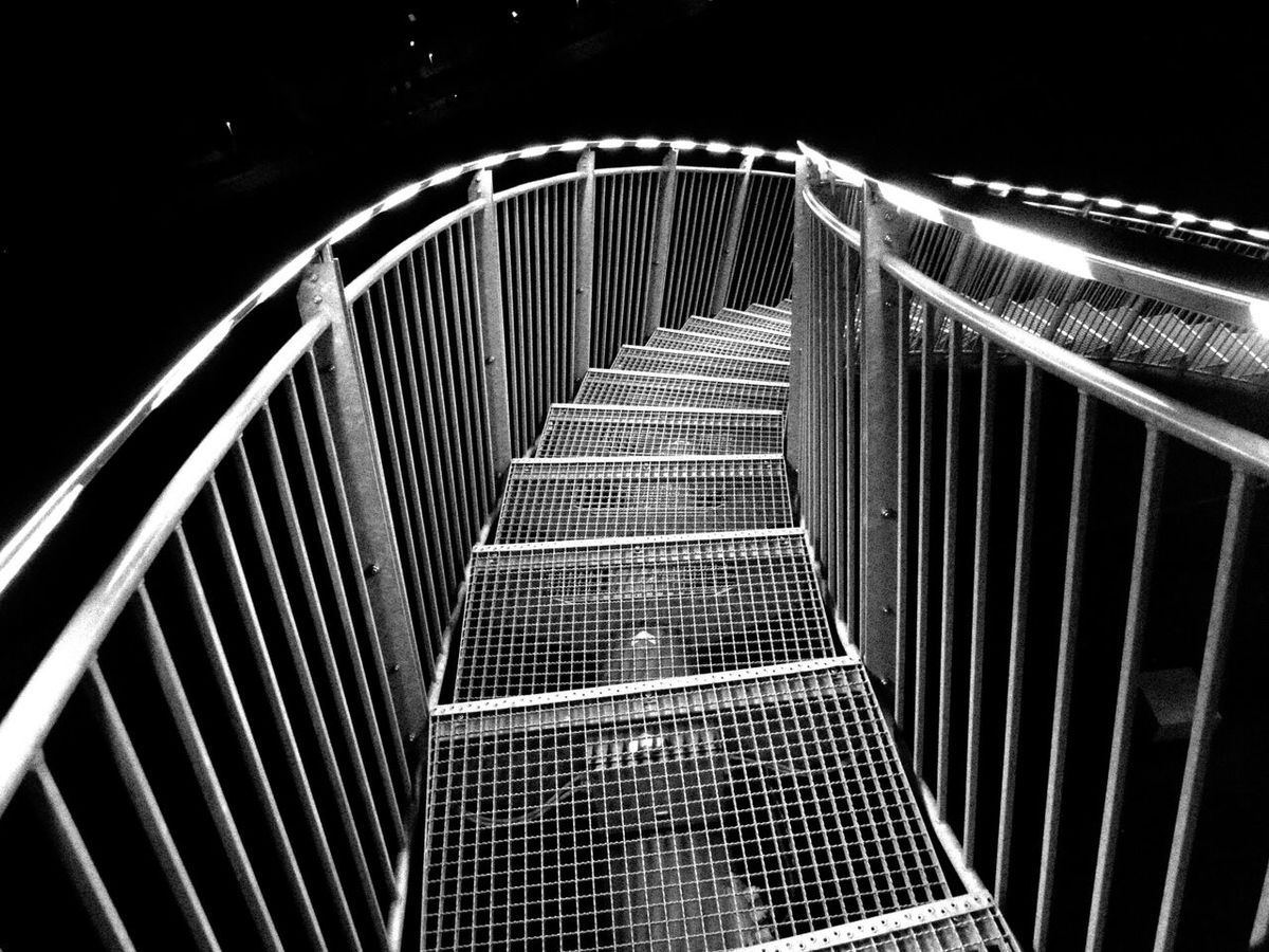 Architecture Bridge - Man Made Structure Building Exterior Built Structure Connection Dark Fence Illuminated Low Angle View Metal Metallic Night No People Outdoors Pattern Railing Staircase Steps Steps And Staircases Tiger & Turtle Tiger And Turtle Transportation