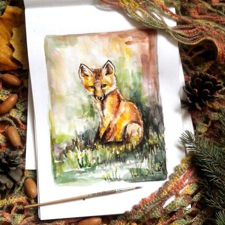 Лисенок.... акварельныйрисунок скетч акварель рисунок лисичка рисунок акварелью набросок иллюстрация Watercolor Fox🐺 Drawing Art