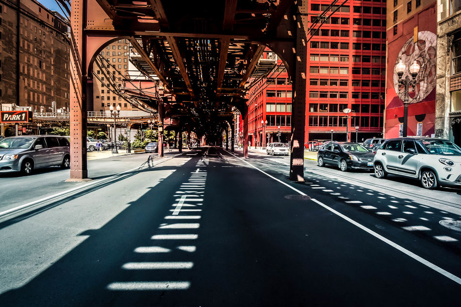Under the bridge Architecture Buildings Built Structure Car City City Street Day Land Vehicle Nikon No People Outdoors Shadow Street Street Photography Streetphotography Transportation Travel Destinations Urban Urban Exploration Urbanphotography Vanishing Point
