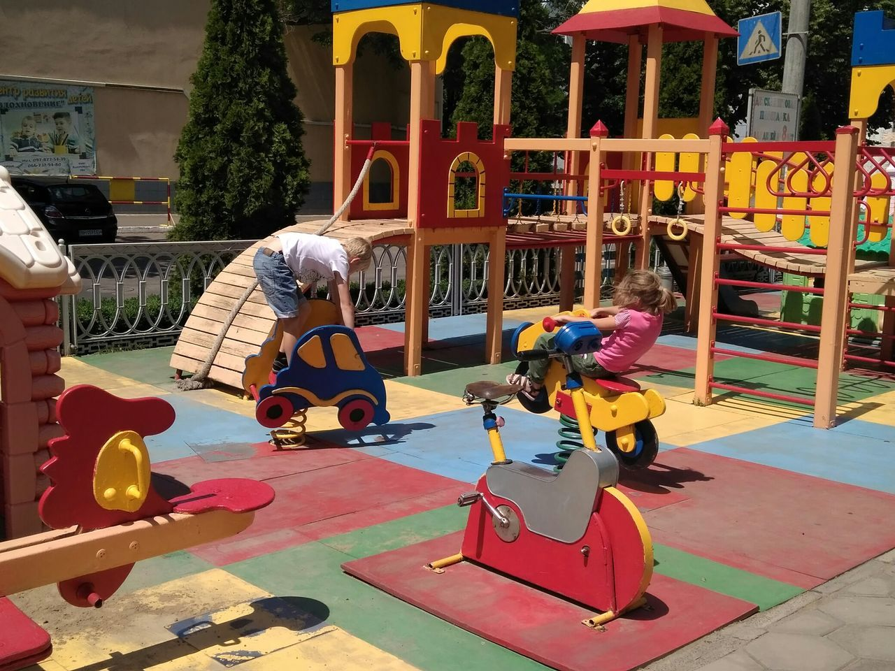 playground, childhood, real people, leisure activity, fun, outdoor play equipment, playing, full length, day, outdoors