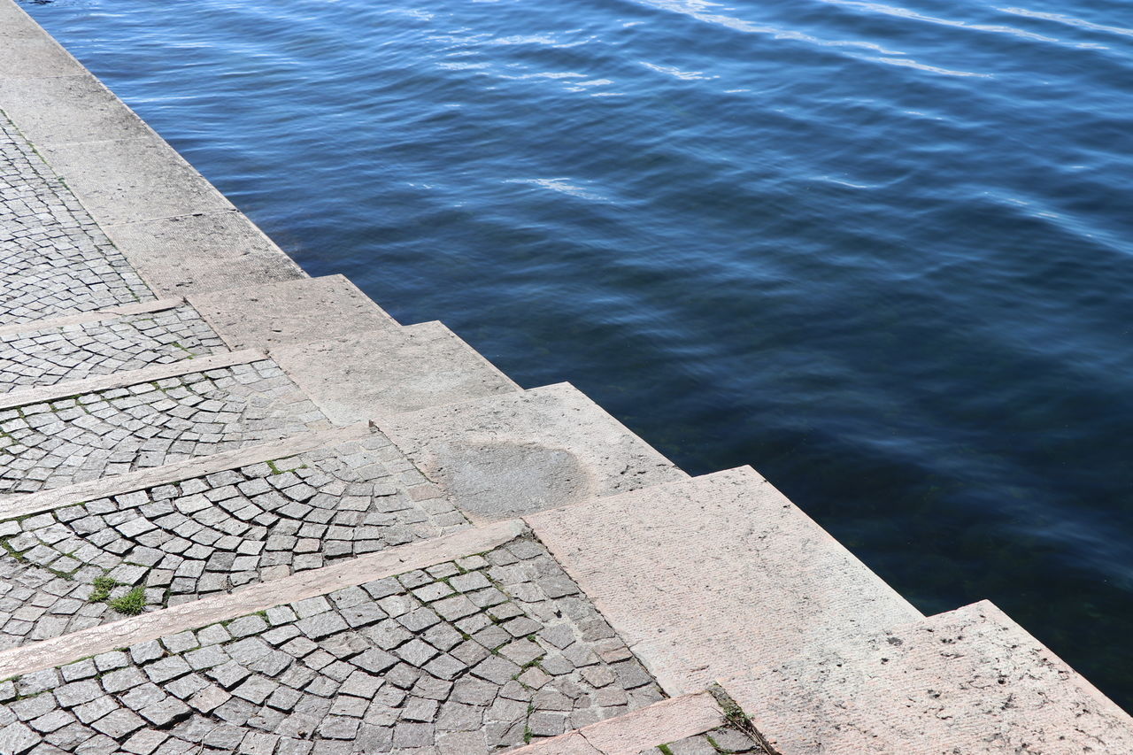 Diagonal Downgrading Downwards High Angle View Lakefront Liquid And Solid No People Outdoors Rim Steps Water White And Blue