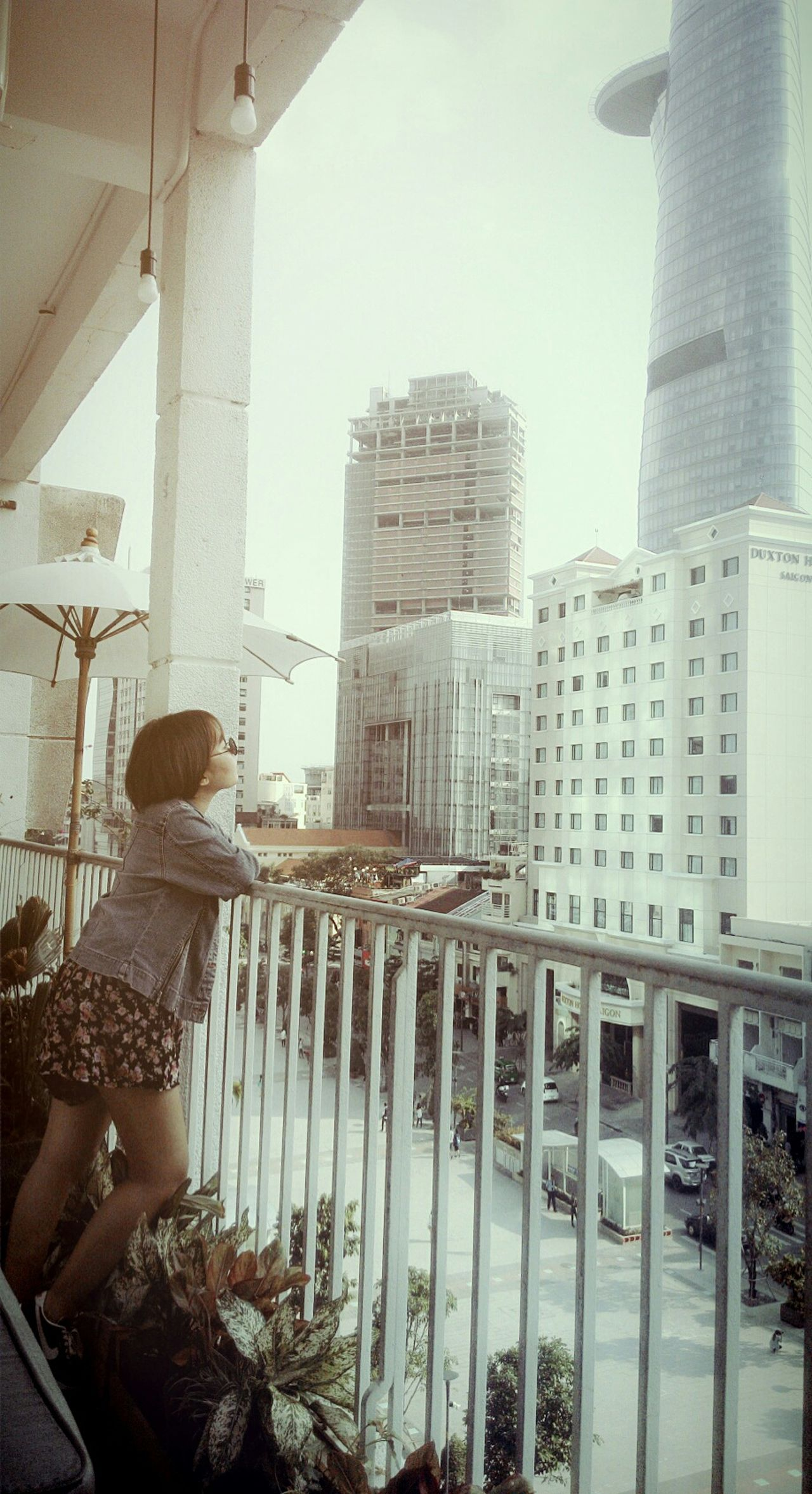 Relaxing Coffee Time Saigon Bitexco Short Hair Jumpsuit Retro Sunglasses Denim Street Style Be Myself
