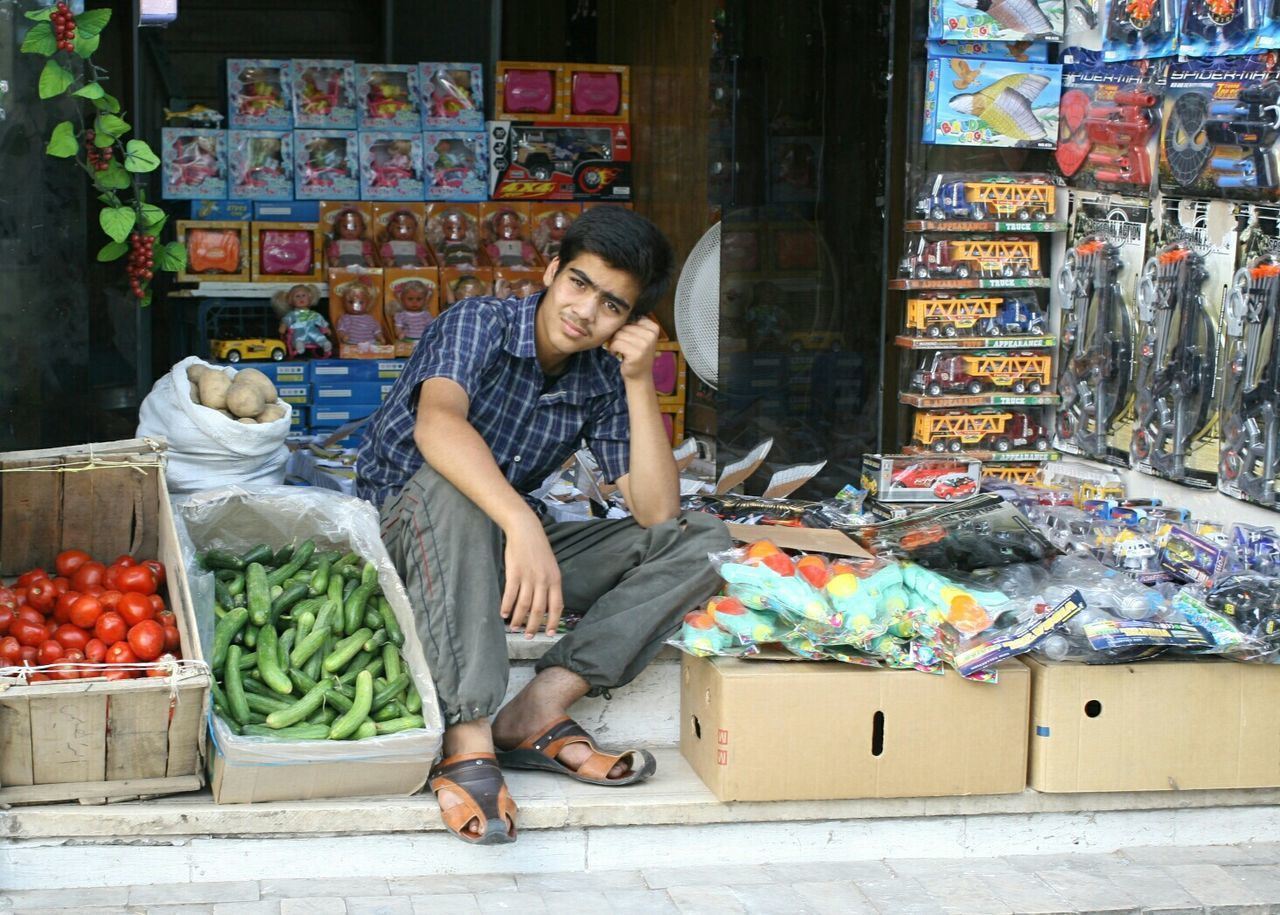 Boy Seller Boared Groseri Tomato Sitting Outside Editorial  Eyemphotography Middle East On Street Toys