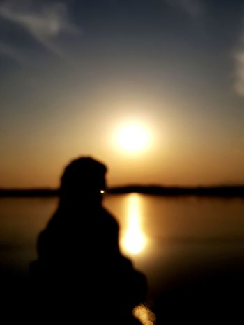 Nature Sunset Silhouette Clear Sky Tranquility Reflection Lake