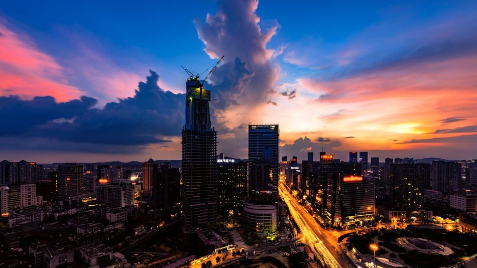 The Furong Square, Changsha Architecture Building Exterior Built Structure Changsha China City Cityscape Cloud Dusk Financial District  Illuminated Modern Office Building Orange Color Sky Sky And Clouds Skyline Skyscraper Sunset Urban Skyline Colour Of Life