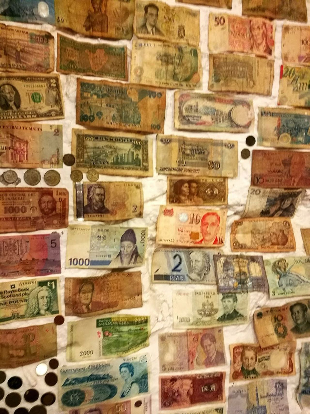 Types of money from all over the world. As seen on the wall of a little cafe down the hill from Stirling Castle. Paper Currency Large Group Of Objects Full Frame No People History Currency Backgrounds Indoors  Cultures Close-up Day Huawei P9 Leica Scotland Stirling Stirling Castle