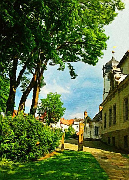Bäume bei der Sehusaburg im Seesener Stadtpark . Oil on canvas 80 x 60 cm 2011 Art Painting Trees Nature Light And Shadow Houses Park Castle