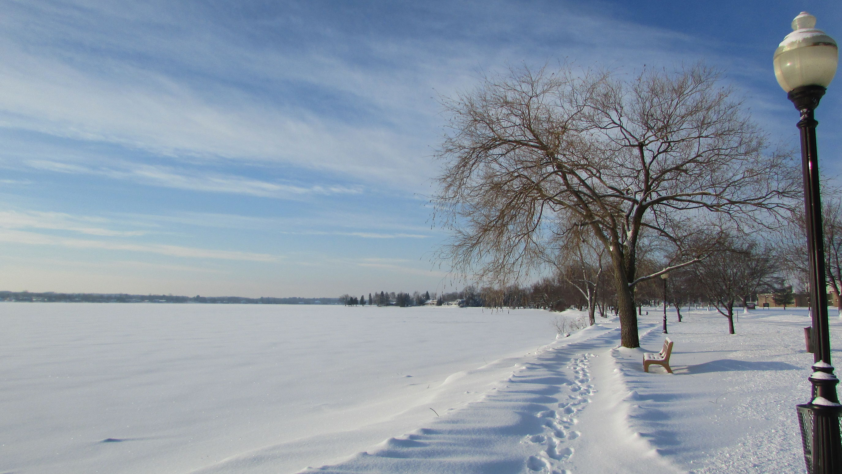 Taking Photos Around The Lake Retro Streetlight Snowy Shore Sunshine ☀ Blue Sky And Clouds Quietness Footprints Lake Cadillac Beatiful Day Pure Michigan