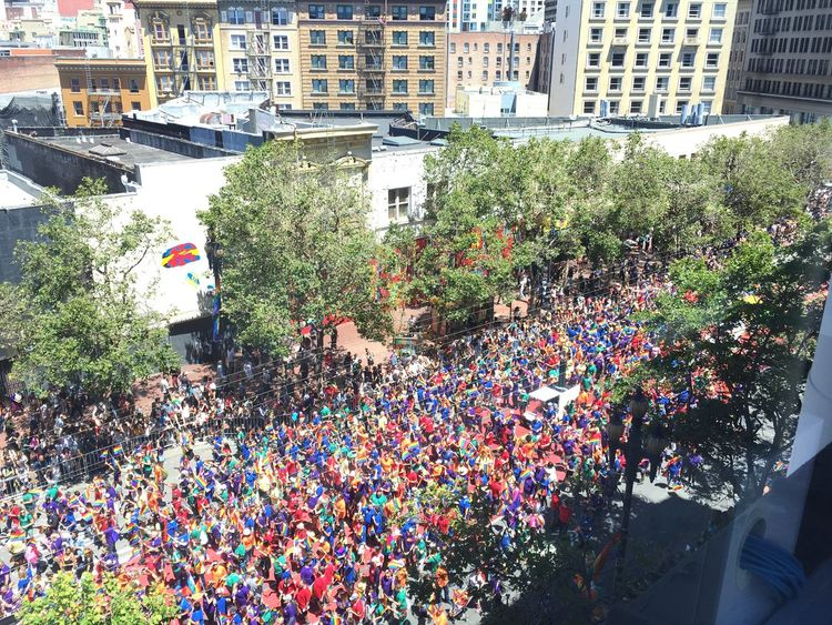 The Photojournalist - 2017 EyeEm Awards Crowd Large Group Of People High Angle View Day Architecture San Francisco Pride Lovewins Love Multi Colored Built Structure City Real People Community