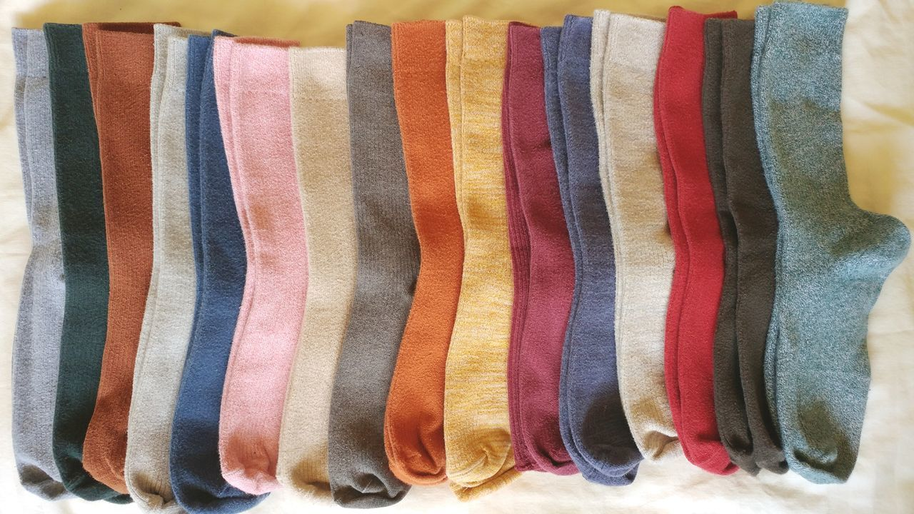 Winter sock collection. Multi Colored Striped Backgrounds Socks Comfy  Cozy Warm Warm Clothing Rainbow Colors Sun Bathing Colors and patterns Textures And Colors Clothing Underwear Shoot Satisfying Organized No People Collections Style And Fashion Home Sweet Home