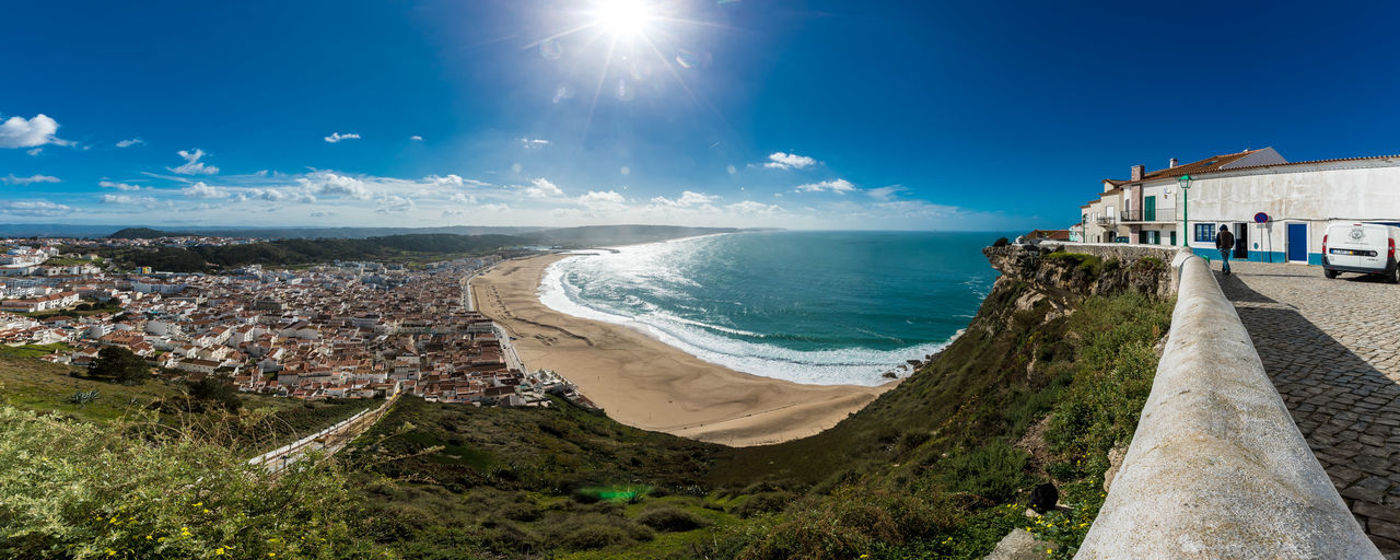 Nazare overlook Architecture Beach Blue City Cityscape Clear Sky Day Horizon Over Water Landscape Nazaré  No People Outdoors Sea Sky Sun Sunlight Tourism Travel Travel Destinations Vacations Water
