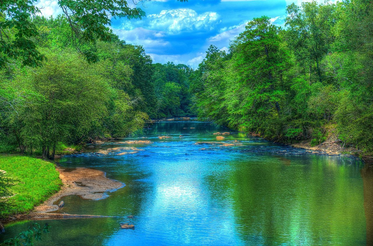 Serenity Beauty In Nature Blue Cloud - Sky Day Freshness Green Color Landscape Nature No People Outdoors Reflection Scenics Serenity Sky Sweetwater Creek Travel Destinations Tree Vacations Water