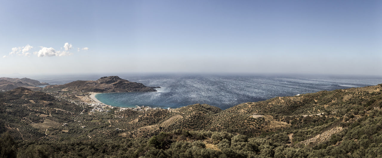 View of Plakias beach Blue Clouds Countryside Crete Landscape Mountain Range Ocean Ocean View Olive Tree Panorama Plakias Scenics Sky Trees Water