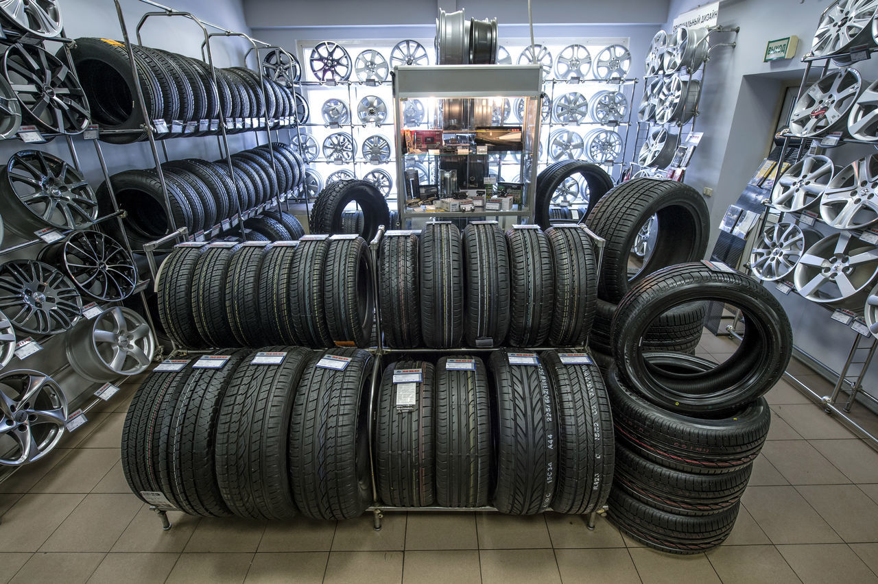 Russia, Moscow, transport, cars, wheels, tyres, car service, trade Abundance Arrangement Car Service Cars Day Indoors  Large Group Of Objects Moscow No People Repair Shop Russia Stack Tire Trade Transport Tyres Variation Wheels