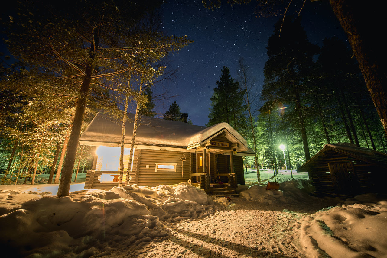 Christmas Christmas Tree Cold Temperature Cottage Finland Forest Illuminated Landscape Levi Milky Way Nature Night No People Outdoors Snow Stars Starscape Tree Winter