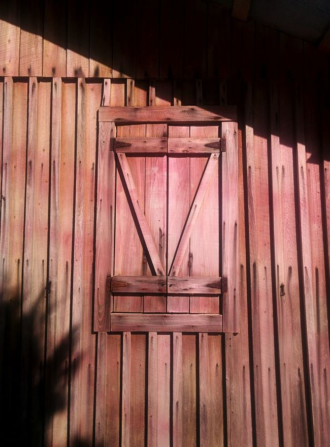 Red Wood Church Wall Window Playing With The Shadows