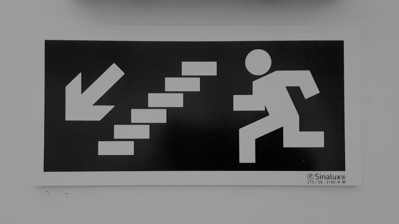 W e i r d o Wall Stairs Inside Blackandwhite Person Emergengy Emergency Signals Down Out Of The Box Phonecamera PhonePhotography Samsung Galaxy S6 Edge Life View BlackEdition Art Corridor Focus Experiences Perspective