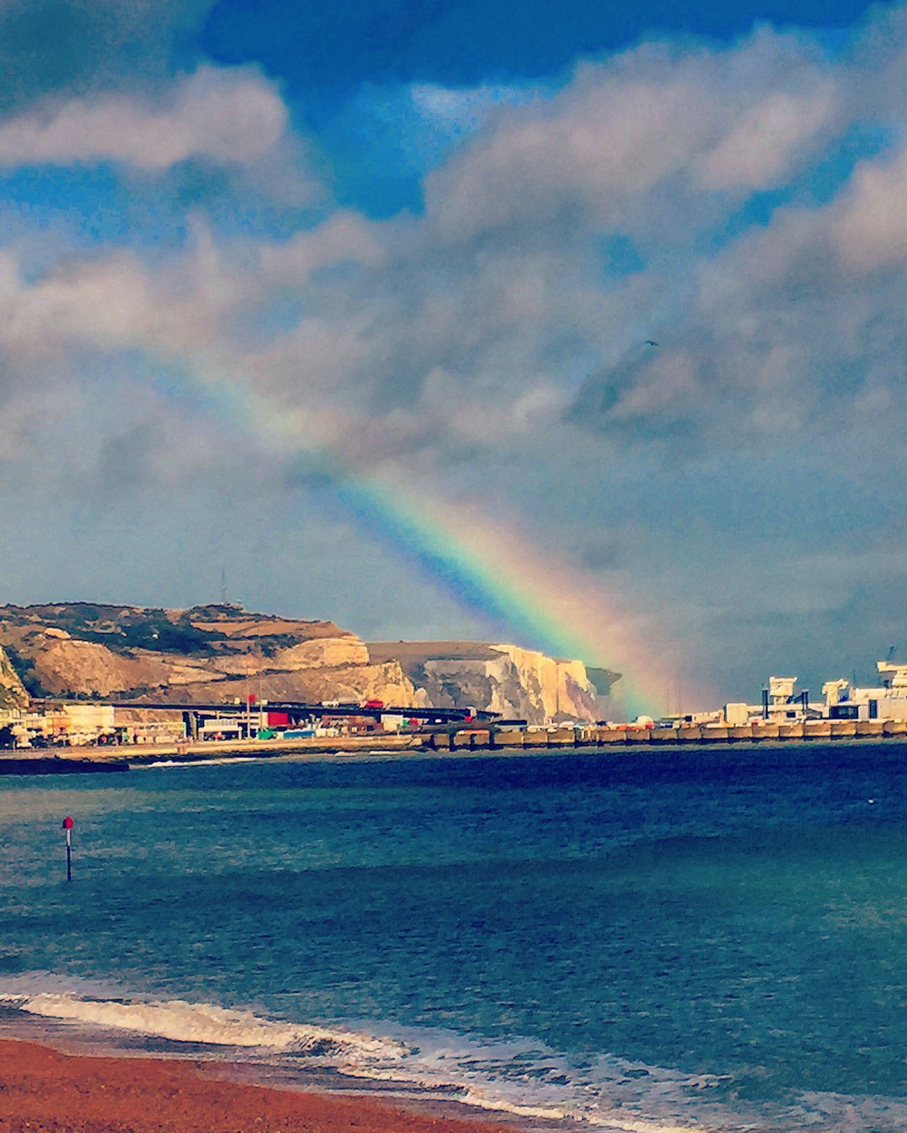 Somewhere over the rainbow🌈 - lovely view from the restaurant., Seafood Fish Eating Rainbow Rainy Days View Beautiful Beachphotography Cliffs Dover Ocean Ocean View Oceanside Ocean Waves Colours Colourful Somewhere Over The Rainbow View From The Window... Oceanview Oceanviews Kent Port Sea Sea And Sky Seascape