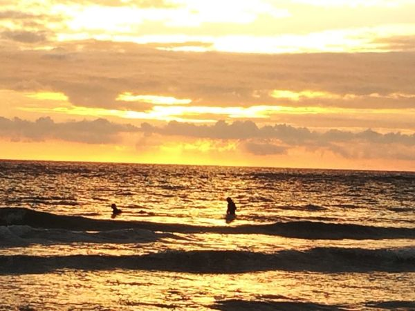 Waiting for the Wave Surfing Sunset Sea Silhouette Scenics Horizon Over Water Beauty In Nature Water