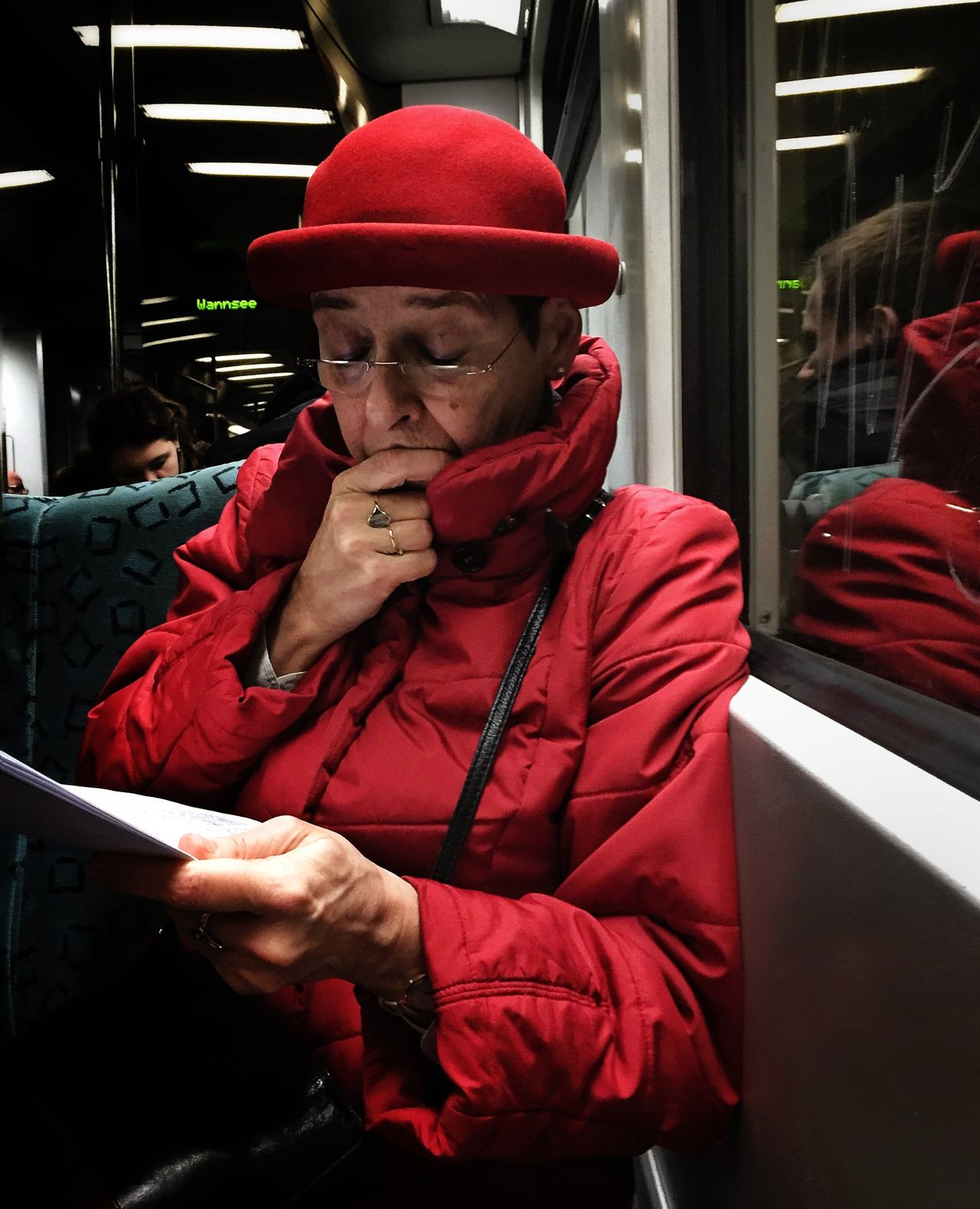 Streetphotography StreetPortraits Public Transportation Berlin Red Reflection Iphone6 Mobilephotography
