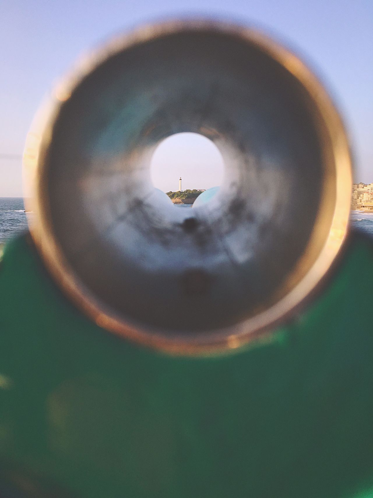 Leading Lines Barrel Tube Lunettes Monocular Lighthouse France Day Vintage No People Summer Outdoors Scenics Far Directional Looking Through Biarritz Green Ocean View Happiness Light And Shadow