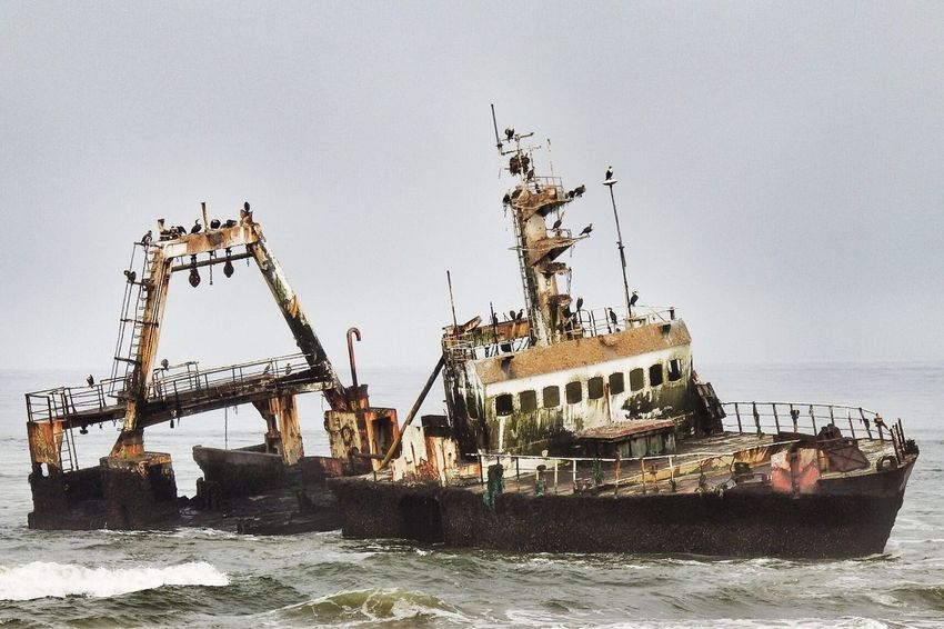 Transportation Nautical Vessel Outdoors Sea Water Waterfront Kormoran Cormorants Nature Wins No People Nature Demaged Wrack Stranded