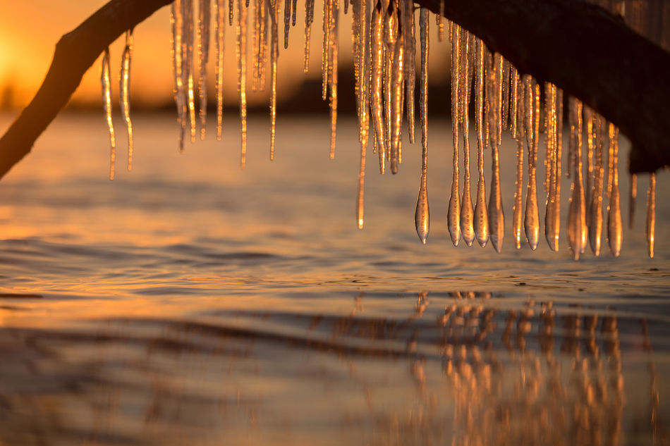 Beauty In Nature Canada Close-up Day Dripping Ice Icicles Lake Ontario Nature No People Ontario Outdoors Scenics Sky Sunset Tranquility Water Waterfront Winter