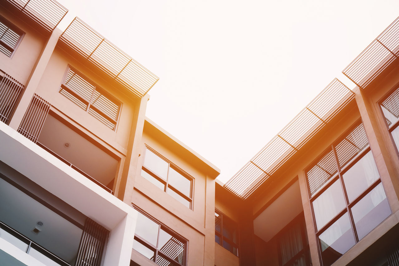 Apartment Architecture Building Detail Building Exterior Built Structure Clear Sky Condominium Construction Day Detail Facade Building Low Angle View Modern No People Outdoors Perspective Real Estate Sky Sunlight Window