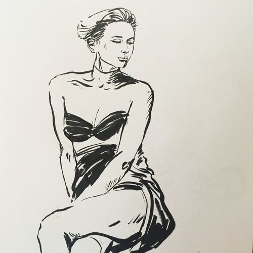 """Kati"", lifedrawing, penbrush and ink on paper. Pose Ubud Bali Sketch Lifedrawing Art Ink Drawing Studio Shot White Background One Person Paper Indoors  Close-up Day People"
