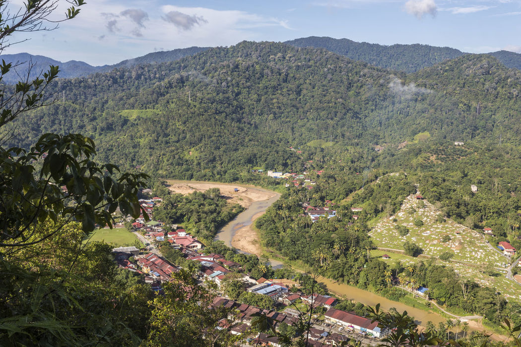 View of old mining town of Sungai Lembing from Panorama Hill. Beauty In Nature Day Growth High Angle View Landscape Mining Town Mountain Mountain Range Nature No People Outdoors Panorama Hill Road Scenics Sky Sungai Lembing Tranquil Scene Tranquility Tree