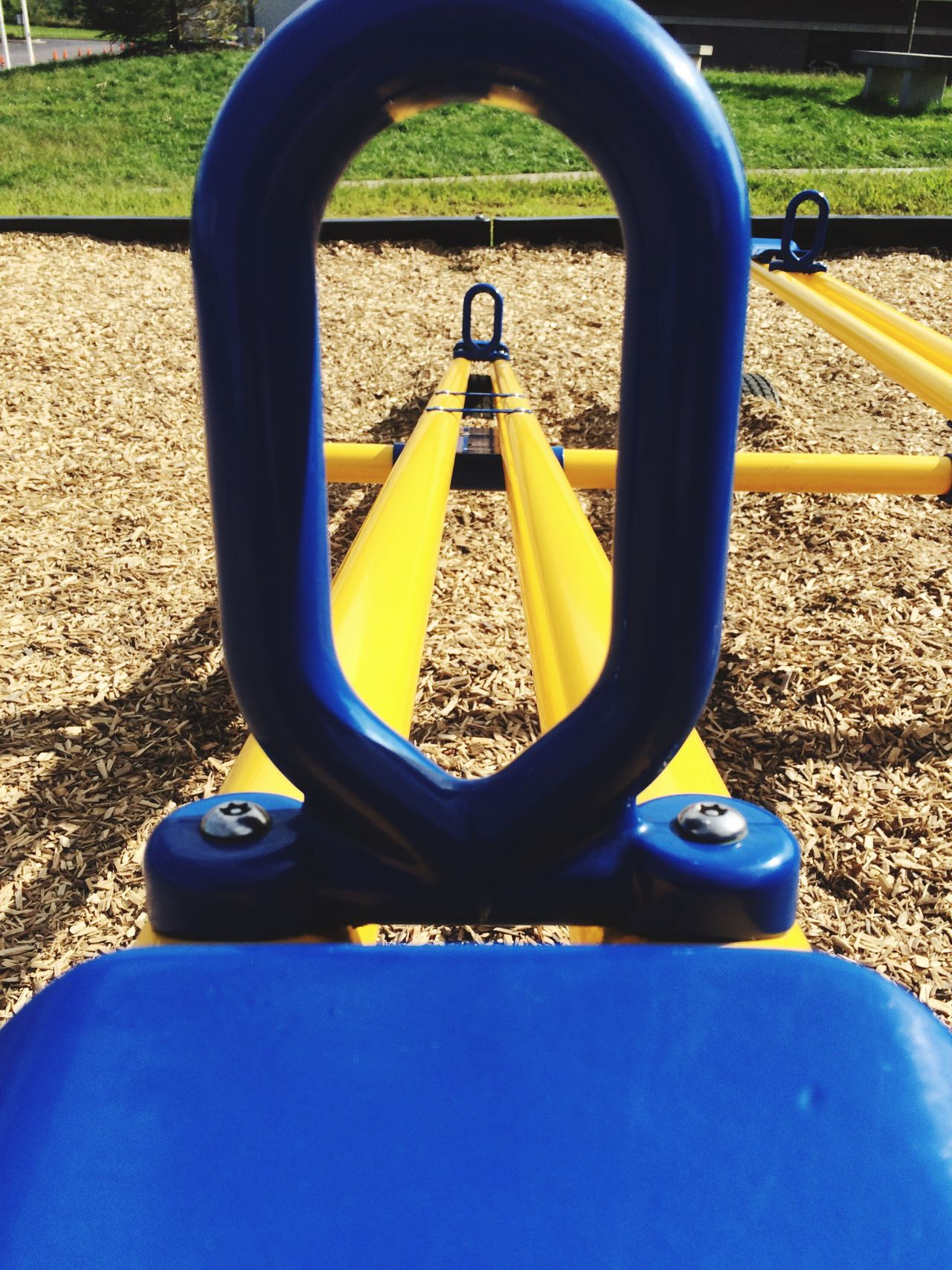Teeter totter Playground Teeter-totter Play Play Ground Blue Yellow Kids Toys Fun Playground Equipment Playgrounds Playground Structure Seesaw See Saw Metal Looking Through
