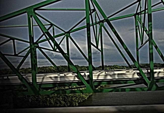BRIDGE RIVER 072516 Bridge Day Green Iron No People Railing River Sky Sky And Clouds Steel Water