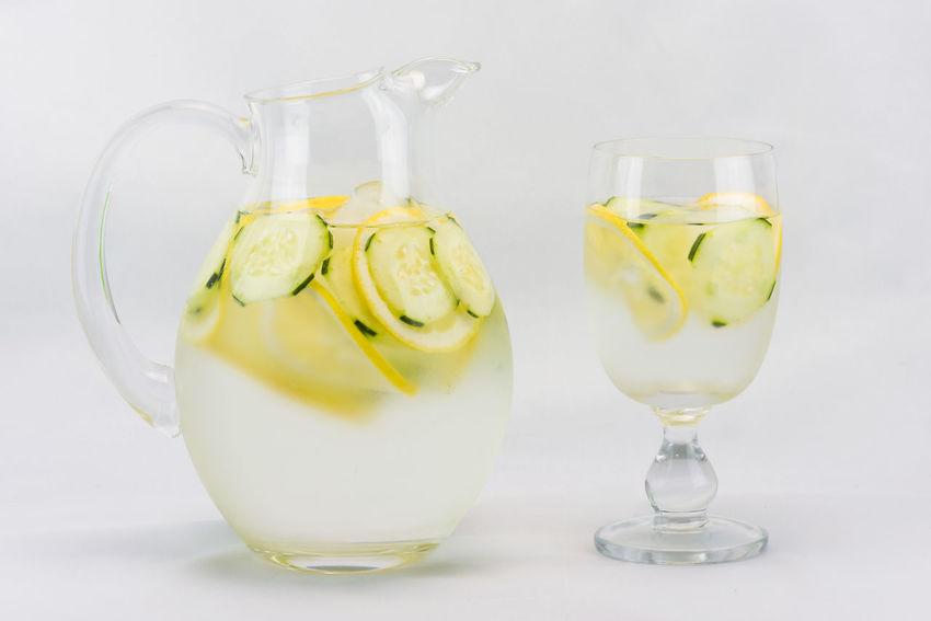 Beverage Cold Drink Cucumber Water Drink Freshness Lemon Refreshment Vase Water