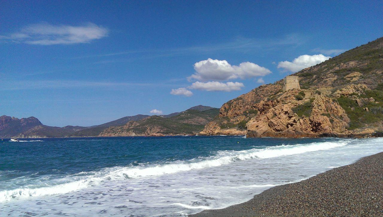 Beach Blue Sky White Clouds Cloud - Sky Corse Day France Frankreich Korsika Landscape Mediterranean  Mittelmeer Overcast S Scenics Sky Tower Water