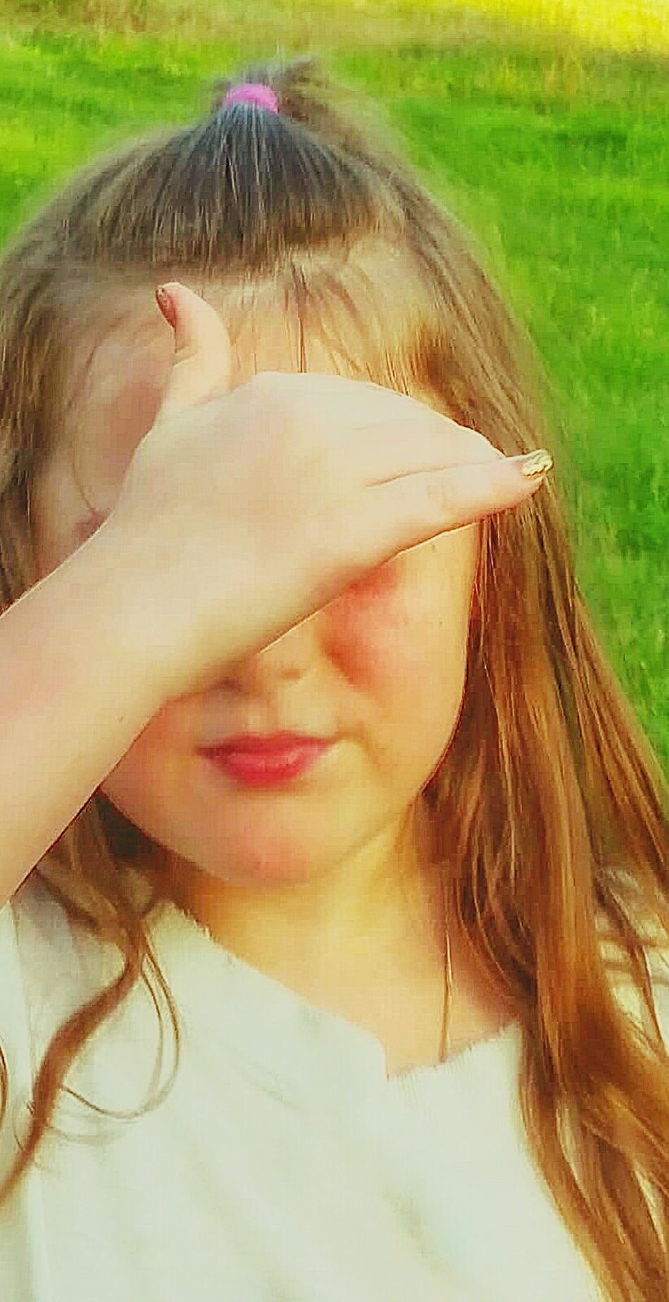 The Portraitist - 2016 EyeEm Awards Girl Hiding Eyes Long Brown Hair Freckles Flushing Cheeks Child Photography Outdoor Photography Everyday Emotion Natural Light Photo Natural Light Portrait